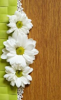 Gänseblümchen in linie und spitze trennen die beiden farben, flach gelegt