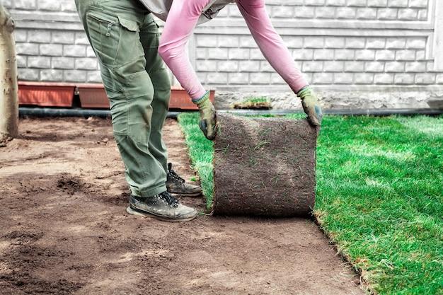 Gärtner beschichtet den boden mit grünen rasenrollen