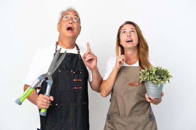Gärtner mittleren alters, die eine pflanze und eine schere auf weißem hintergrund halten und eine idee denken, die mit dem finger nach oben zeigt
