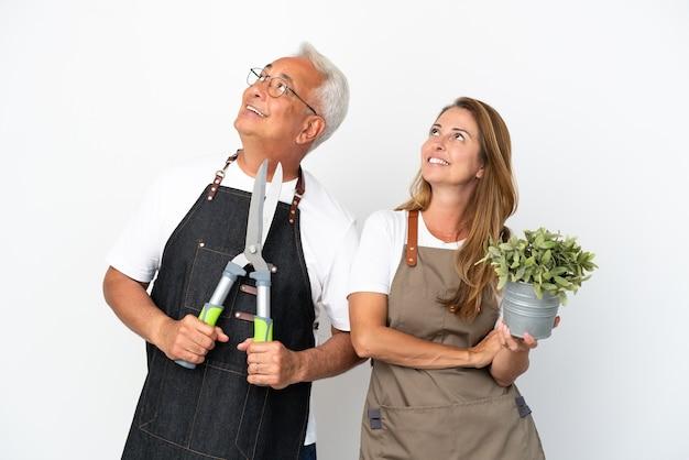 Gärtner mittleren alters, die eine pflanze und eine schere halten, die auf weißem hintergrund isoliert sind und lächelnd aufschauen