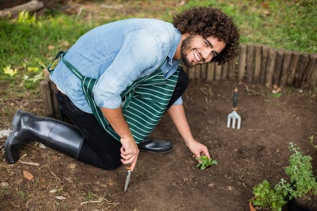 Gärtner pflanzt außerhalb des gewächshauses