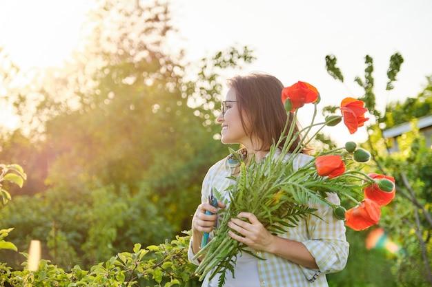 Gärtnerin, die rote blumenmohnblumen mit gartenschere schneidet, sonniger tag im frühlingsgarten, glückliche schöne reife frau mit blumenstrauß, kopienraum