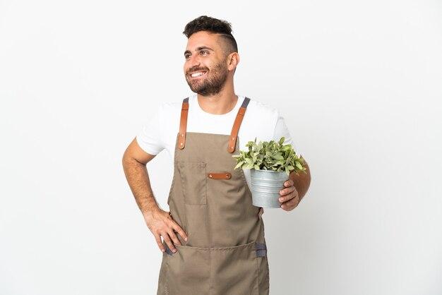 Gärtnermann, der eine pflanze über isoliertem weißem aufstellen mit armen an der hüfte und lächelnd hält
