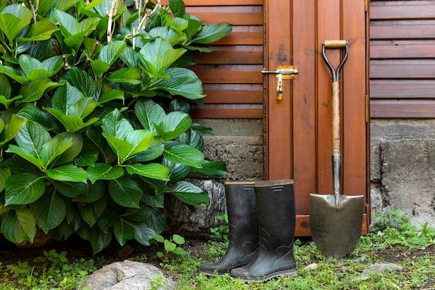 Gärtnerwerkzeuge neben dem haus