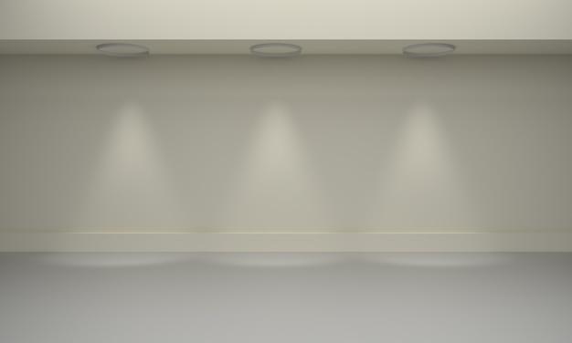 Galerie interieur mit beleuchtetem scheinwerfer. 3d-rendering-illustration