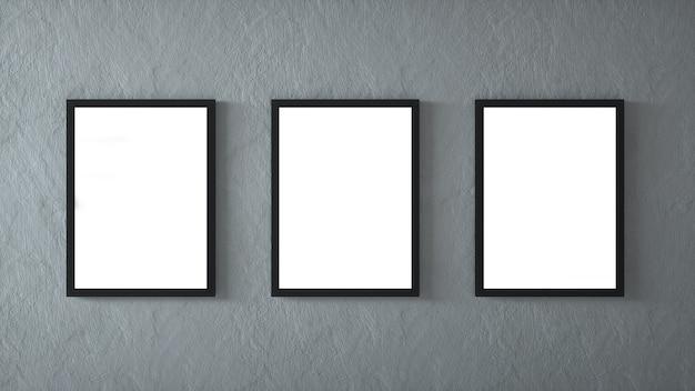 Galerie interieur mit drei leeren rahmen an der wand. 3d-rendering.