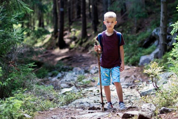 Ganzaufnahme des kleinkindjungen mit dem wandererrucksack und -stock, die allein durch reisen, beleuchteten durch gebirgsdichten kiefernwald des hellen sonnenscheins am warmen sommertag. tourismus und aktives lebensstilkonzept.
