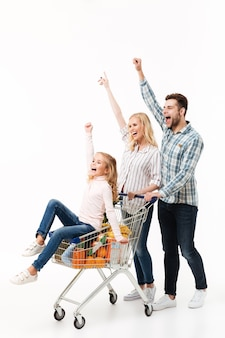 Ganzaufnahme einer frohen familie