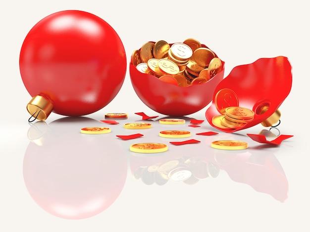 Ganze und zerbrochene rote weihnachtskugeln voller münzen