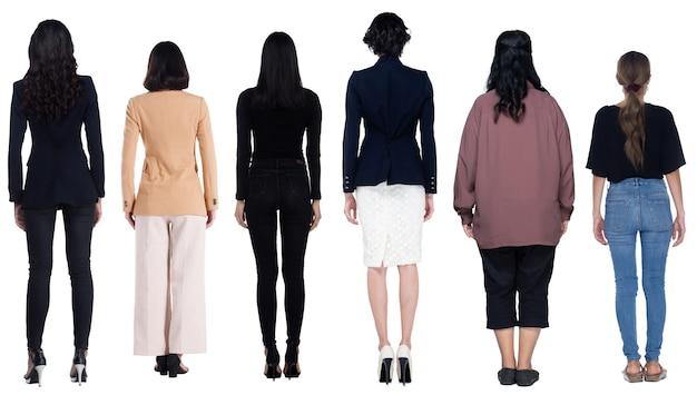 Ganzkörperlänge figurenvielfalt der 20er 30er jahre asiatische frauen in vielen berufen wie casual lifestyle, business, abendkleid. weiblicher ständer drehen hintere rückansicht, weißer hintergrund isoliert