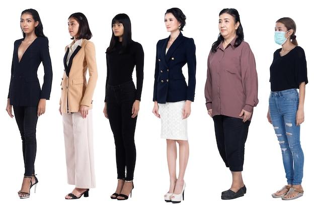 Ganzkörperlänge figurenvielfalt der 20er 30er jahre asiatische frauen in vielen berufen wie casual lifestyle, business, abendkleid. weiblicher stand drehen seitenansicht, weißer hintergrund isoliert