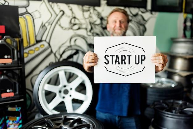 Garage-automobil-abstimmungs-anpassungs-startkonzept