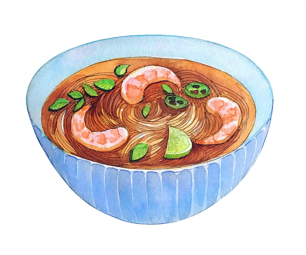Garnele-suppe pho des aquarells vietnamesisch lokalisiert auf weißem hintergrund.