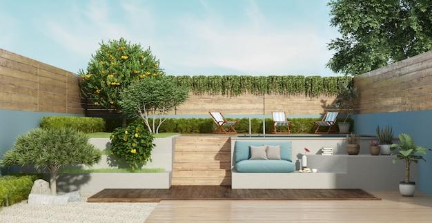 Garten auf zwei ebenen mit einem kleinen pool