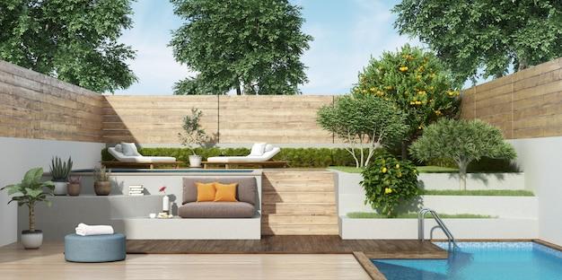 Garten auf zwei ebenen mit zwei kleinen pools