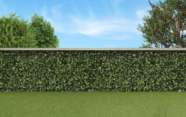 Garten mit kletterpflanzen auf einer steinmauer, gras und bäumen - 3d-rendering