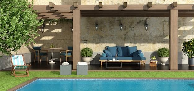 Garten mit pergola und pool