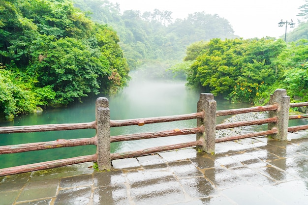 Garten park in cheonjiyeon wasserfälle in jeju island