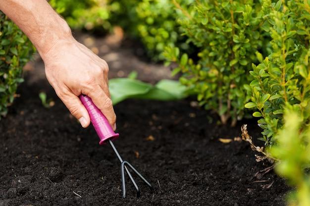 Gartenarbeit. ein mann mittleren alters, der im garten arbeitet