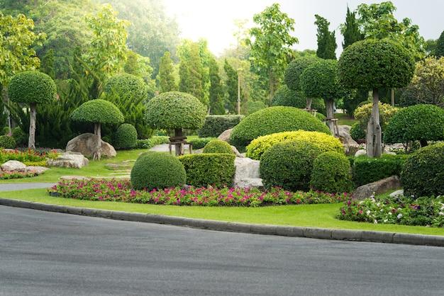 Gartenarbeit und landschaftsbau mit dekorativen bäumen