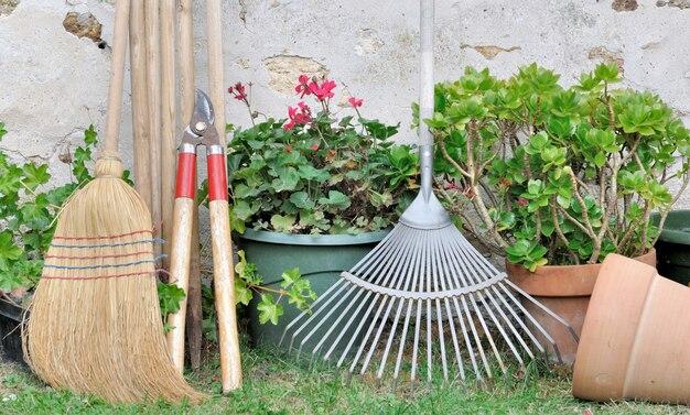 Gartengeräte im garten