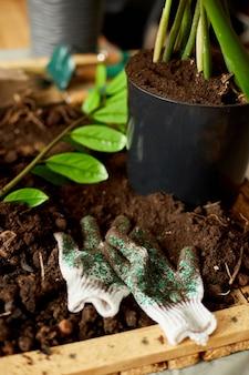 Gartengeräte mit pflanzen und erdhaufen auf holztisch hobbys und freizeit, hausgarten