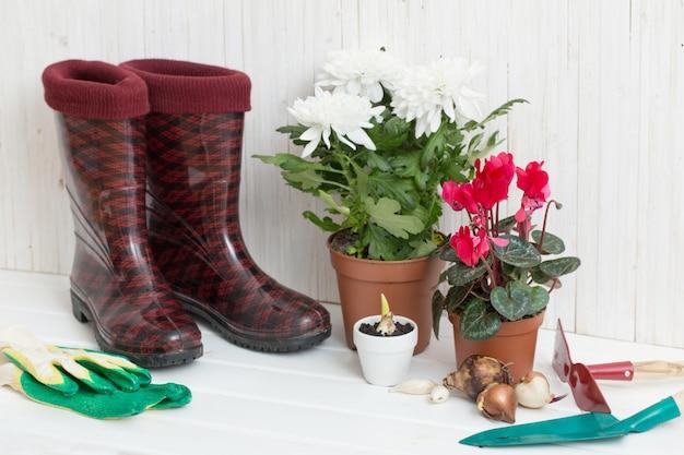 Gartengeräte und gummistiefel auf weißem holztisch