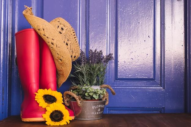 Gartenzusammensetzung mit roten gummistiefeln und pflanze