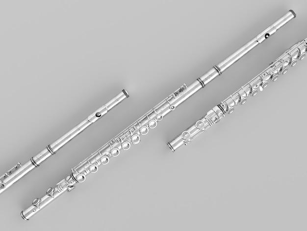 Gealterte flöte isoliert auf grau