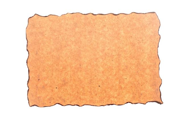 Gealtertes und fleckiges papier mit feuergeschädigten und verbrannten kanten