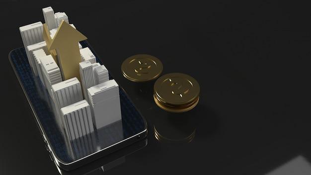 Gebäude der wiedergabe 3d am handy