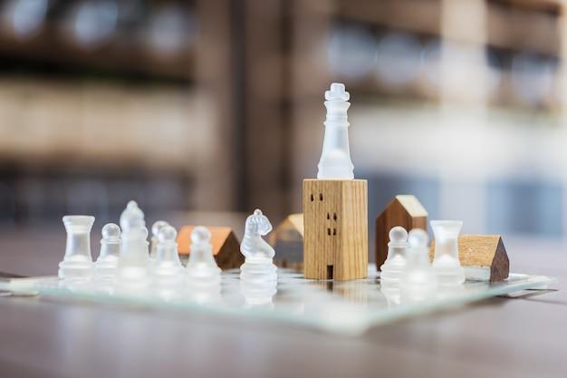 Gebäude- und hausmodelle im schachspiel