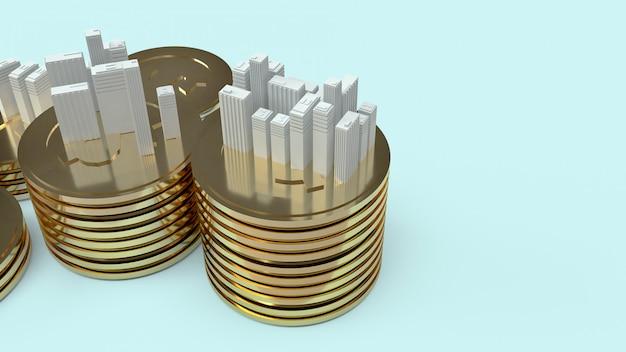 Gebäudemodell und goldmünzen für immobilieninhalte.