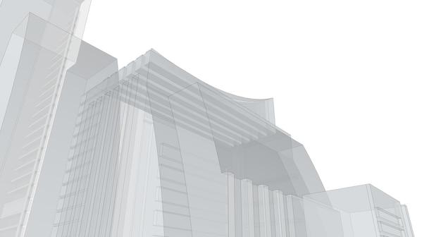 Gebäudeskizze architektonische 3d-darstellung, architekturgebäudeperspektivenlinien