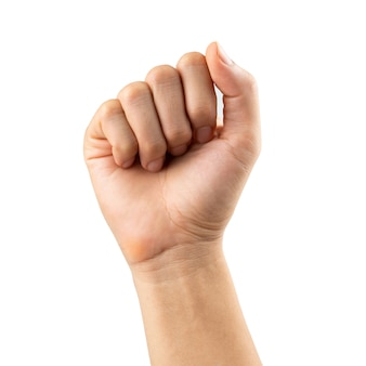 Geballte faust des mannes hand, getrennt auf weiß
