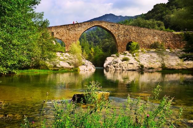 Gebirgsfluss mit mittelalterlicher brücke in pyrenäen