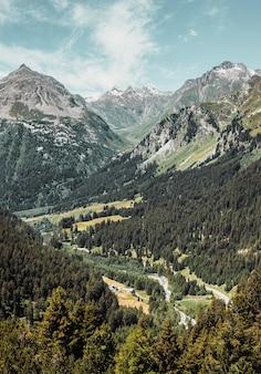 Gebirgspass in der schweizer alpenstraße zwischen tal und grüner waldpanoramalandschaft