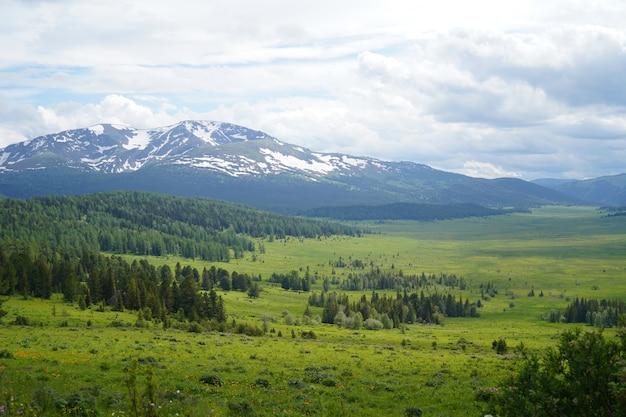 Gebirgstal mit grünem gressfeld unter bewölktem himmel und bergen