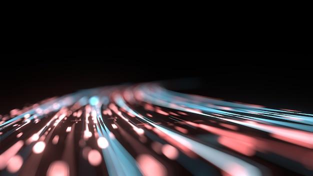 Gebogener blauer und roter lichtweg mit bokeh-unschärfeeffekt.