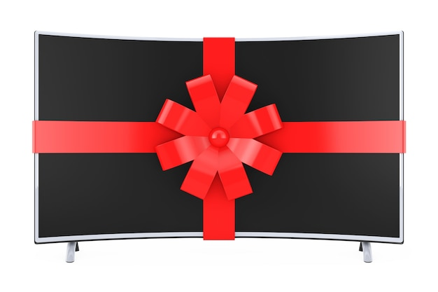 Gebogener smart-lcd-plasma-tv oder monitor mit rotem band und schleife auf weißem hintergrund. 3d-rendering.