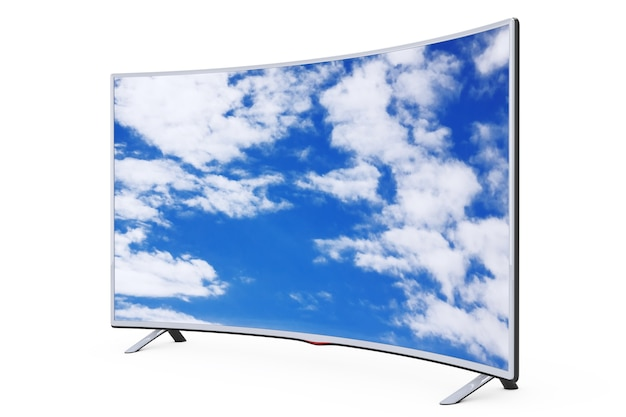 Gebogener smart-lcd-plasma-tv oder monitor mit sky view auf weißem hintergrund. 3d-rendering.