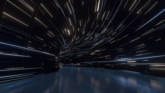 Gebogener tunnel mit led-leuchtlichtern an der decke