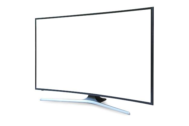 Gebogener tv 4k flachbildschirm lcd oder oled, plasma realistisch, weißer leerer hd-monitor