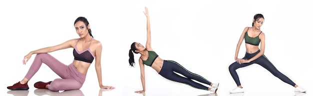Gebräunte haut asiatische frau trägt fitness-sport-bh-yoga-hosen-turnschuhe. weibliche bewegung in voller länge und schweiß gesund über weißem hintergrund isoliert