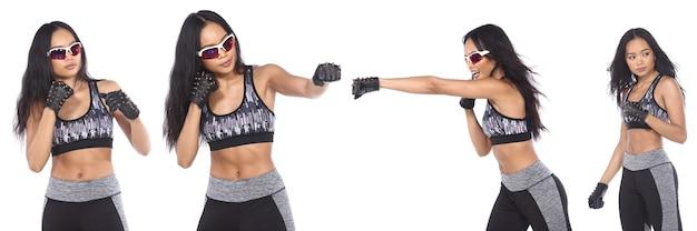 Gebräunte haut asiatische frau trägt fitness-sport-bh-yogahose. porträt halber körper weibliche bewegung und schweiß gesund über weißem hintergrund isoliert, konzept nie aufgeben