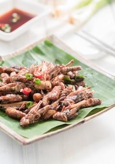 Gebratene grashüpfer und frittierte wurmforelle gebratene seidenraupen, essbare insekten essen und lokale lebensmittel in thailan