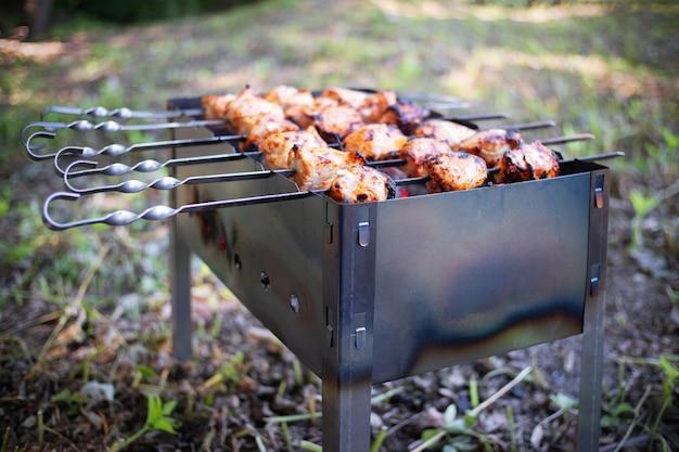 Gebratene kebabs auf spießen und metallpfanne, im freien, nahaufnahme.