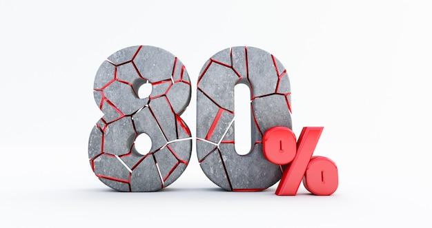 Gebrochen achtzig prozent (80%) isoliert, 80 achtzig prozent verkauf. bis zu 80%.