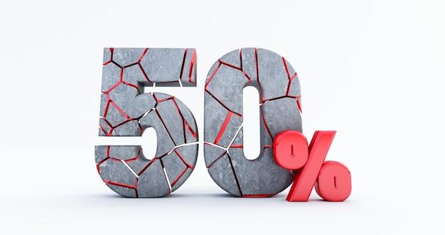 Gebrochen fünfzig prozent (50%) isoliert, 50 fünfzig prozent verkauf. bis zu 50%.