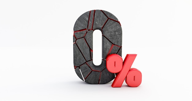 Gebrochen null prozent (0%) isoliert, 0 null prozent verkauf., geknackt 3d nummer 0 null.